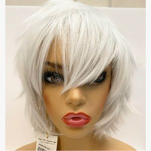 Platinum Synthetic Blend Cosplay Short Spike Wig